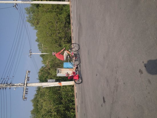 Hua Hin Bike Tours: Our son in the tag-along