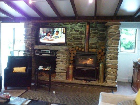 Waiorau Homestead: Living Area with Fireplace