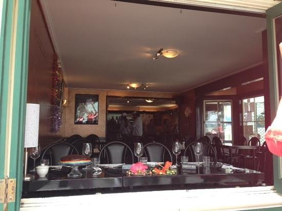 sally's restaurant: Looking in through the window