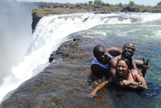 Devil's Pool: Front seat 'on board' Mighty Victoria Falls! over a natural wonder!