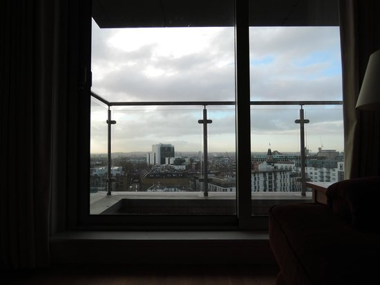 Marlin Apartments Aldgate: view from living room at noon 14.12.2013