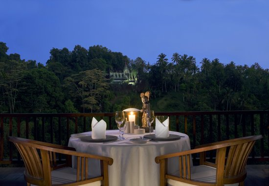 The Restaurant at Hanging Gardens Ubud, Bali: Table for two at The Restaurant overlooking our Temple and the #worldsbestpool