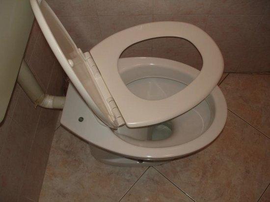 Hotel Merulana Star : Tampa do vaso sanitário quebrada
