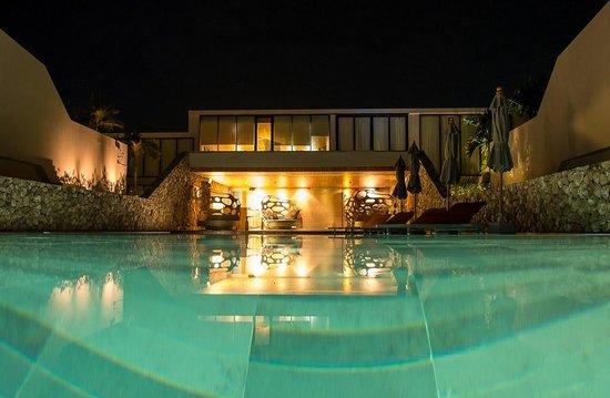 Casa de La Flora: Pool at night