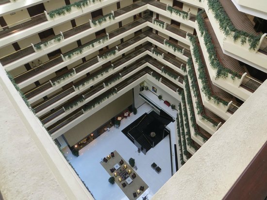 The Oberoi, Mumbai: View of the lobby from the 20th floor.