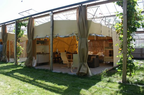 De Groote Wijzend: Front view tent in flower glass house