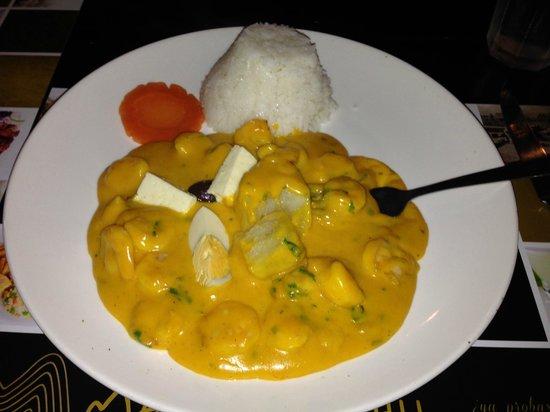 Machu Picchu: Picante de Camarones (a.k.a. Shrimp in Cheese Whiz)