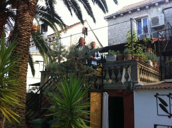 Domus Maritima: Bildet fra hagen og opp mot ingang til rommene