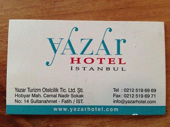 Yazar Hotel: Adresse
