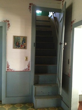 BlissWood Bed and Breakfast Ranch : Stairway to the bedroom lofts, off of the kitchen.