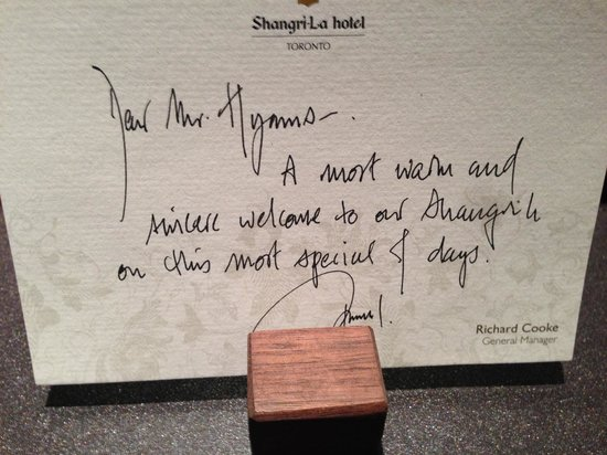 Shangri-La Hotel Toronto: Personal welkomsnote