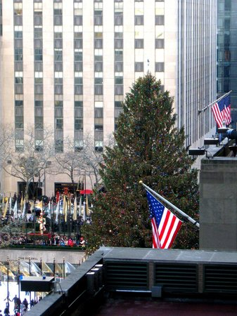 The Jewel facing Rockefeller Center: View of the CHRISTmas tree from The Terrace