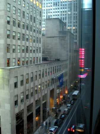 The Jewel facing Rockefeller Center: View from our room down 51st St.