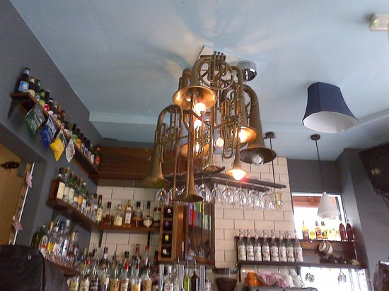 The Old Bookshop : Ceiling decoration above bar