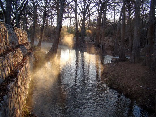 Cypress Creek Cottages: Sunrise from the creek bed.