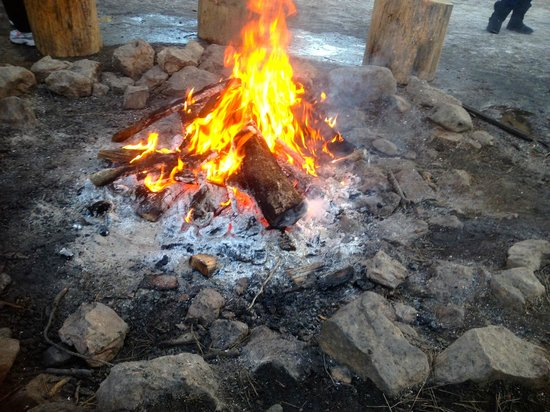 Historic Hitchin' Post Stables: Camp fire at the drop off point