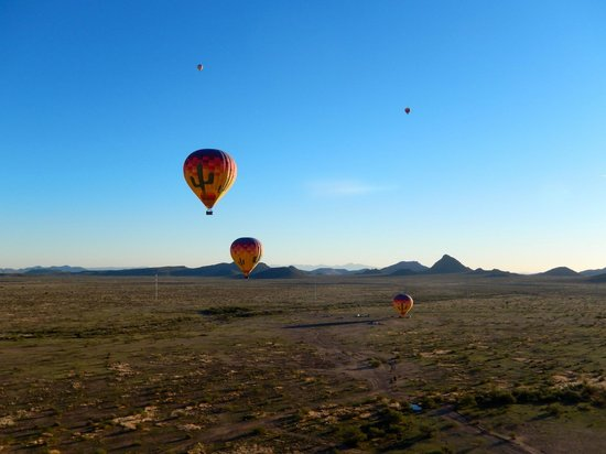 Hot Air Expeditions: Up in the air over the Sonoran Desert in the Carefree/Lake Pleasant area.