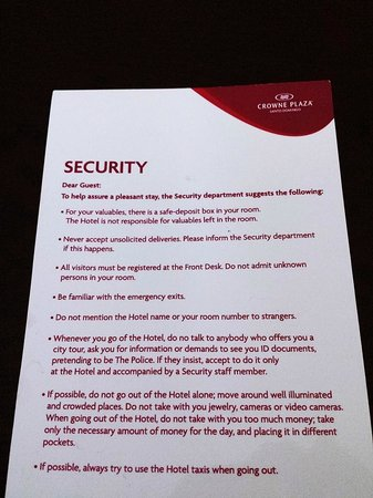 Crowne Plaza Santo Domingo : Scary note