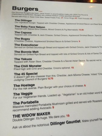 The Dillinger Burger menu