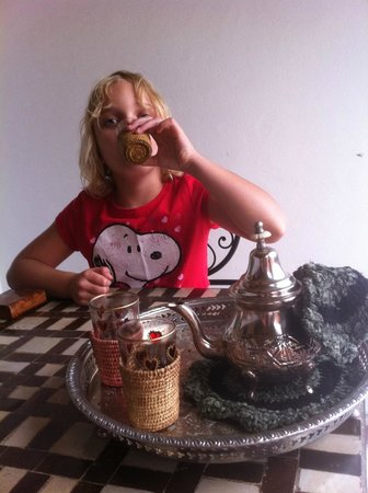 Riad Nesma : Our daughter enjoying the complementary mint tea