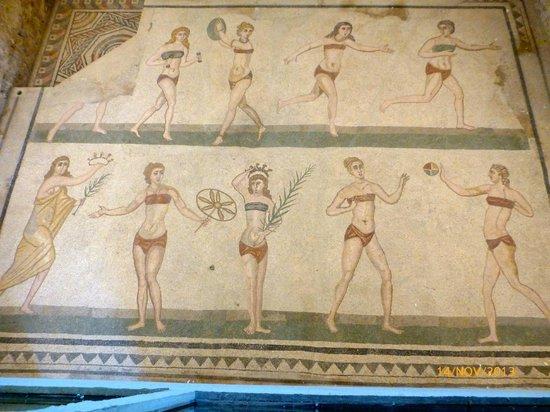 Villa Romana del Casale: Bikini pikene. Ca 2500 år gammelt !