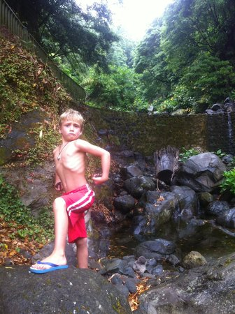 Azores Private Tours: Rye enjoying the waterfall