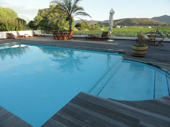 Excelsior Manor Guesthouse: Pool with views of vineyards. On a good evening you can dine next to the pool.
