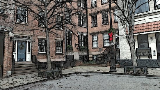 Foods of New York Tours: Artistic rendition of local streets.