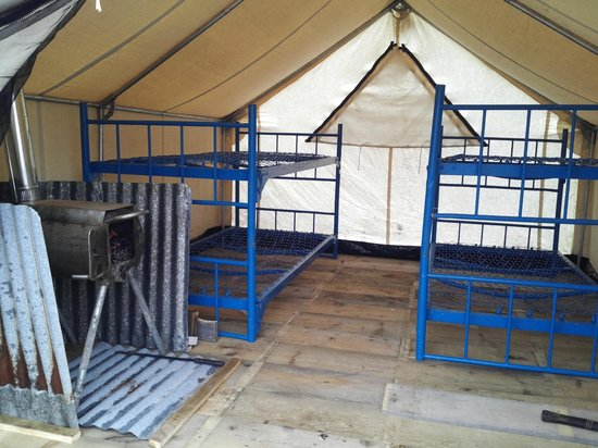 C& Homer Wall tent with wood stove and 4 bunks. All Bunks have foam & Wall tent with wood stove and 4 bunks. All Bunks have foam mattres ...