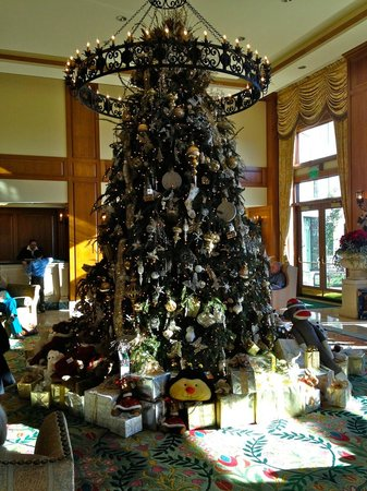 The Inn on Biltmore Estate : Main Lobby Christmas Tree w/presents