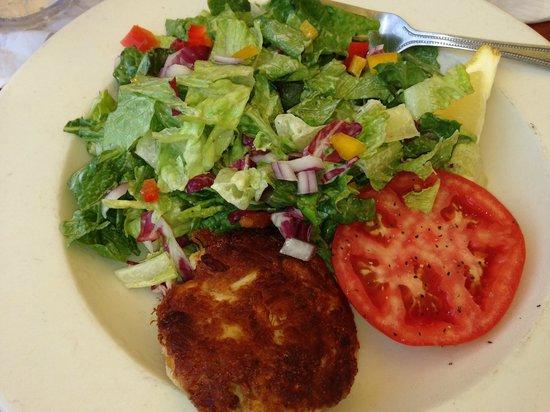 Coconuts: crab cake salad