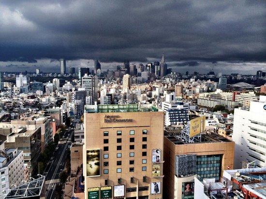 Tokyu Stay Aoyama Premier: View of Aoyama Dori from the elevator lobby on 21st floor.