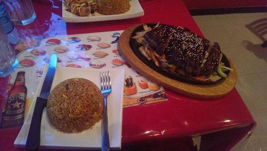 Kintaro Sushi & Chinese Cuisine lsla Verde: Teriyaki Beef and Fried Rice