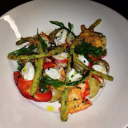 Central House at the Crown: Local lobster, fried garlic scapes, caviar, crime fraiche