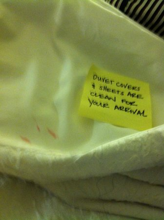 Hampton Inn New Bedford / Fairhaven : Dirty blanket/sheet with hotel sign