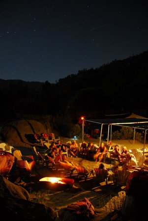 Kern River Outfitters: Night shot of our private, KRO guest only camp.