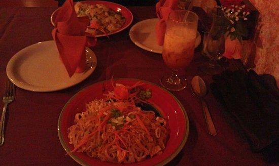 Phenom: Pad Thai and spicy noodles! Drink is Thai iced tea, excellent!