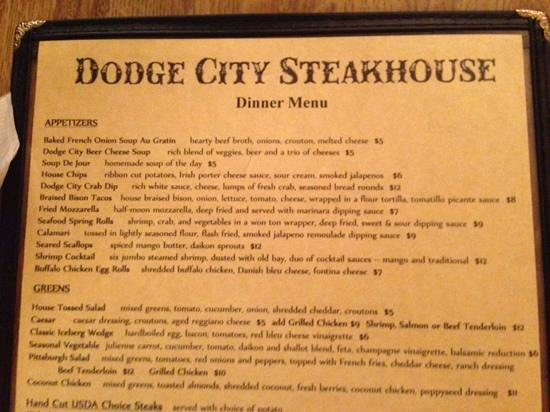 Menu From Dodge City Picture Of Dodge City Steakhouse Harrisburg Tripadvisor