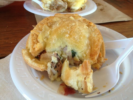 Hayden's Pies: Chicken, bacon, cheese, and spring onions
