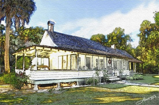Marjorie Kinnan Rawlings Historic State Park: My art rendering of the front of the house.