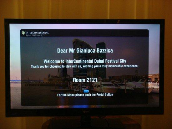 InterContinental Dubai Festival City: Welcome message on TV