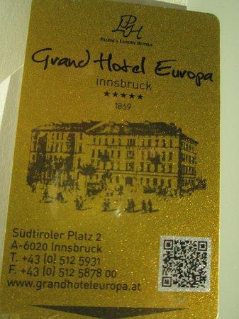 Grand Hotel Europa: Beautiful electronic key
