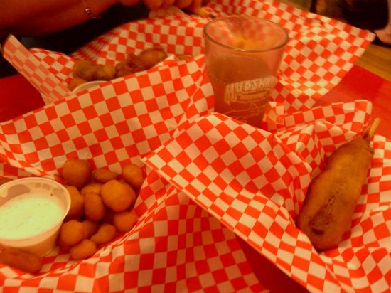 Devil's Pantry: Deep fried cheeses curds, olives and corn dog wrapped in bacon.