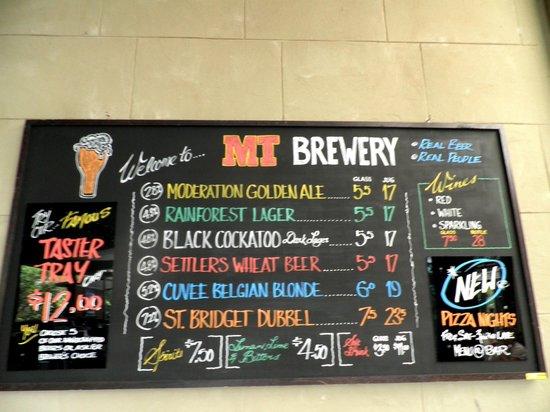 Mt Tamborine Brewery: Beer Menu