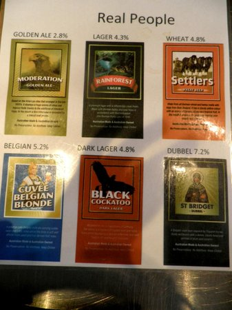 Mt Tamborine Brewery: Signage on the types of beer