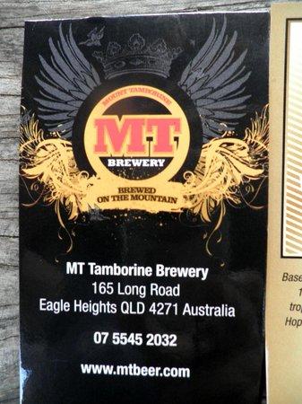 Mt Tamborine Brewery : MT Brewery card