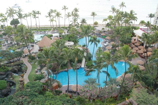 Westin Maui Resort And Spa: View of Pools from Ocean Tower balcony
