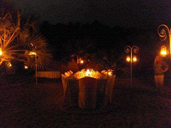 Kizingoni Beach: Beach dinner by candlelight