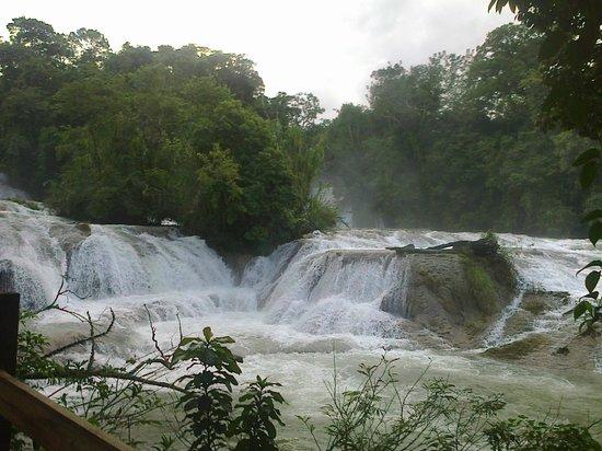 Cascadas de Agua Azul : vista lateral de las cascadas