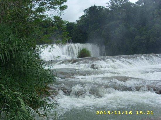 Cascadas de Agua Azul : vista desde la orilla del margen derecho